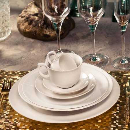Aparelho de Jantar e Chá 30 peças - Flamingo White - Oxford Porcelanas