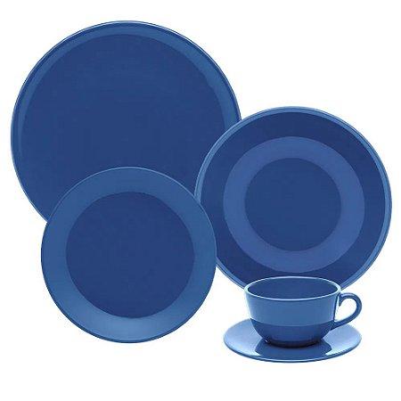 Aparelho de Jantar e Chá 30 peças - Unni Blue - Oxford Porcelanas