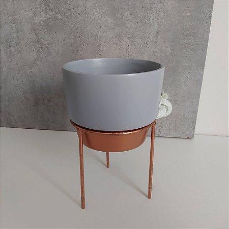 Vaso em Cerâmica para Plantas / Suculentas com Suporte de Ferro - Novel Bronze