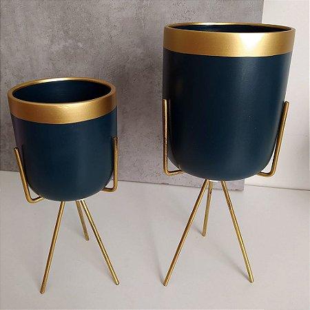 Vasos em Cerâmica para Plantas / Suculentas com Suporte Triangular de Ferro  - Novel Blue Quartz