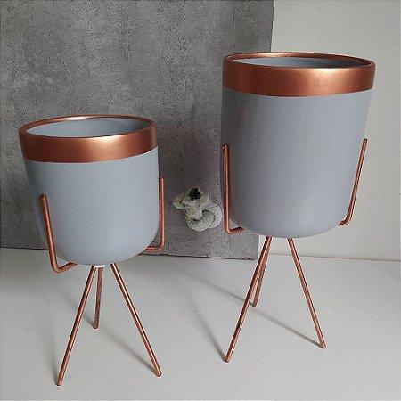 Vasos em Cerâmica para Plantas / Suculentas com Suporte Triangular de Ferro  - Novel Bronze