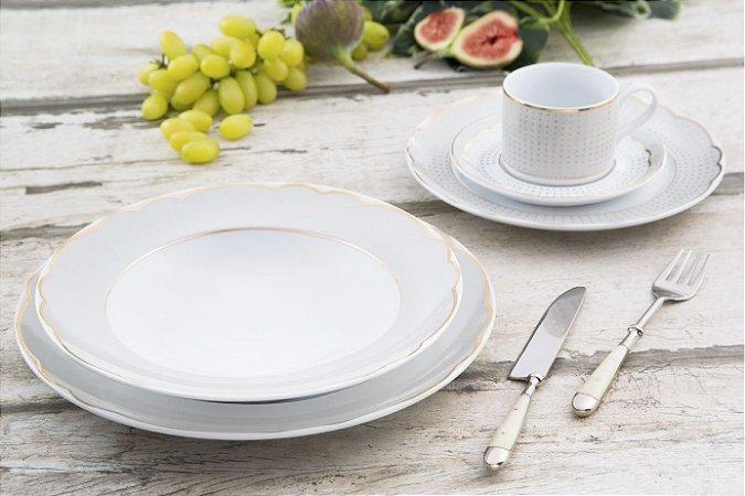 Aparelho de Jantar e Chá 20 peças - Royal Off-White - Germer Porcelanas