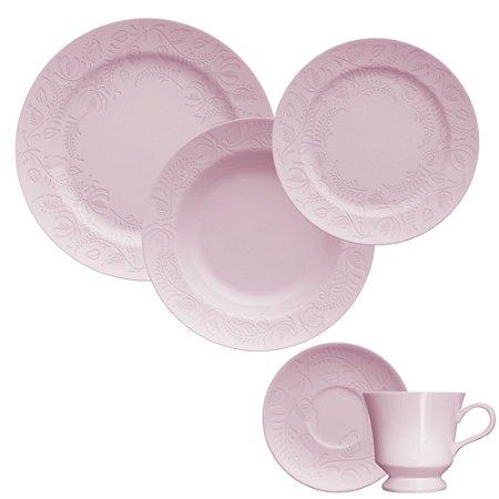 Aparelho de Jantar e Chá 20 peças - Folk Rosa - Germer Porcelanas