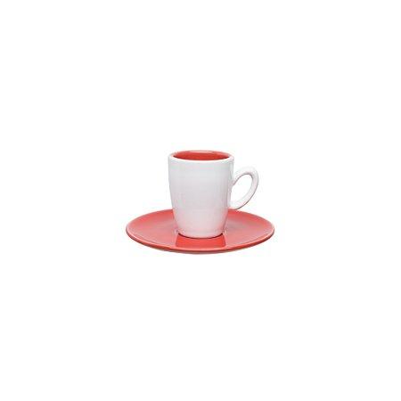 Conjunto 06 Xícaras e Pires Café Expresso 75ml Coral e Branco - Oxford Porcelanas