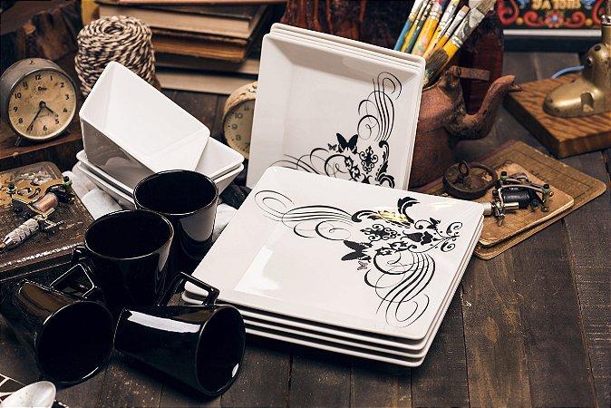 Aparelho de Jantar e Chá 30 peças - Quartier Tattoo - Oxford Porcelanas