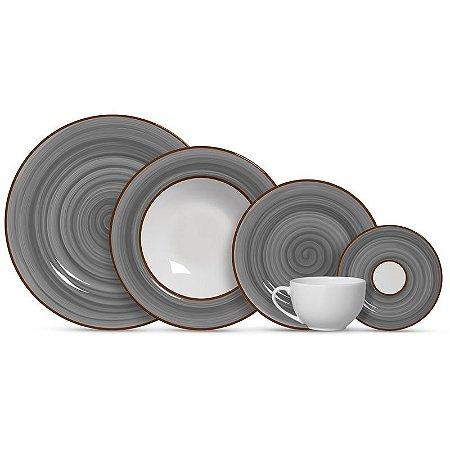 Aparelho de Jantar e Chá 20 peças - Spiral Cinza - Alleanza Cerâmica