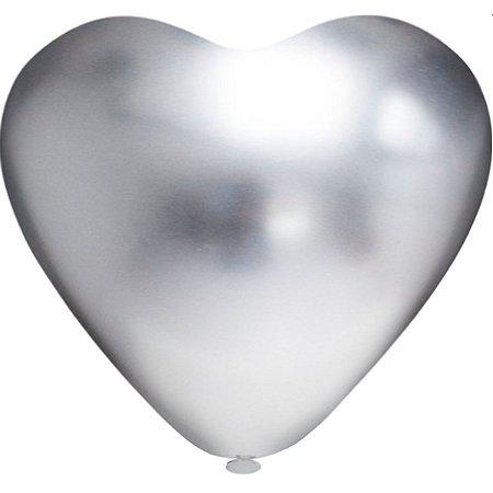 Balão Coração N.010 Coração Platino Prata Riberball