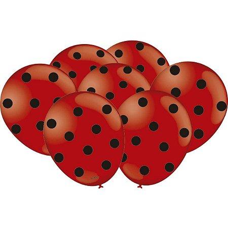 Balão Decorado N.09 Poa Vermelho/preto Festcolor