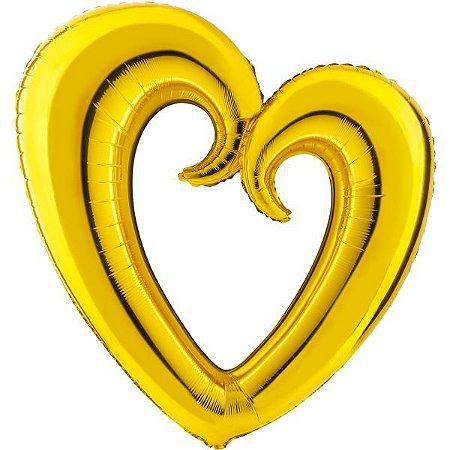 Balão Metalizado Coração Vazado Ouro 80Cm. Mundo Bizarro