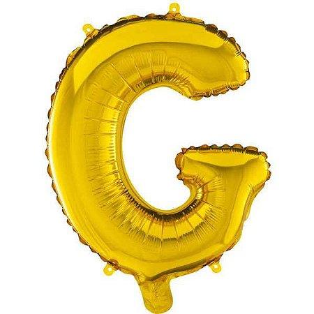 Balão Metalizado Letra G Ouro 40Cm. Mundo Bizarro