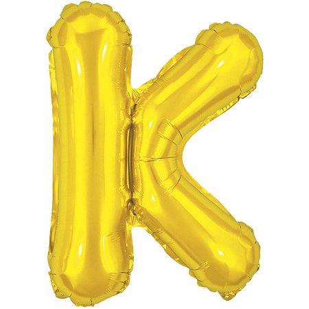 Balão Metalizado Letra K Dourado 40Cm. Make+