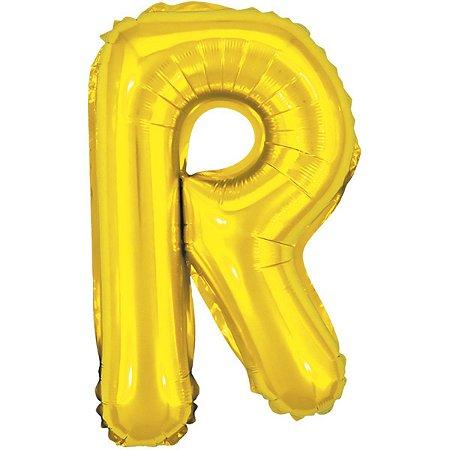Balão Metalizado Letra R Dourado 40Cm. Make+