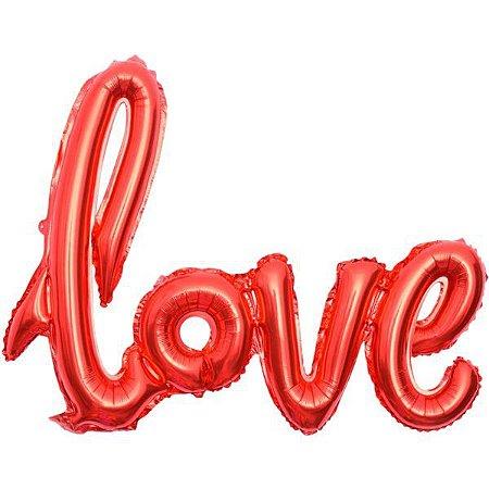 Balão Metalizado Love Vermelho 108X65Cm. Make+