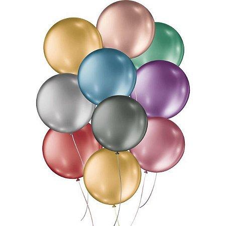 Balão Metalizado N.05 Redondo Sortidos São Roque