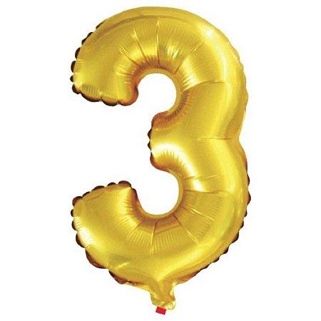 Balão Metalizado Número 3 Dourado 40Cm Gala