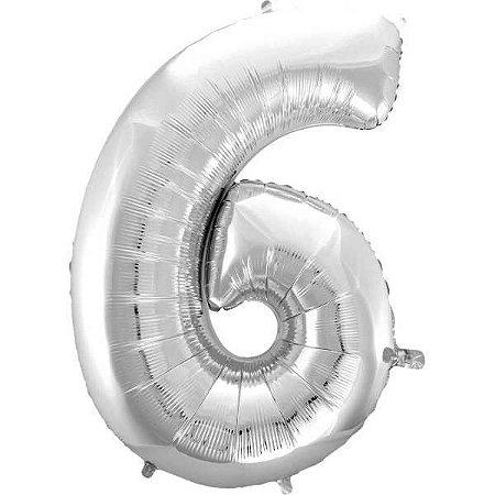 Balão Metalizado Número 6 Prata 100Cm. Mundo Bizarro