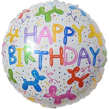 Balão Metalizado Redondo Estamp. Happy Birt45Cm Make+