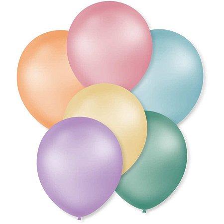 Balão Perolado N.070 T. Pastel Cores Sortidas São Roque