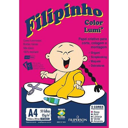 Bloco Para Educação Artística Filipinho Lumi 85Grs. 5 Cores Filiperson