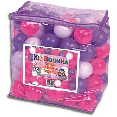 Bolinha Para Piscina E Toca 100 Bolinhas Rosa/lilas/branca Braskit