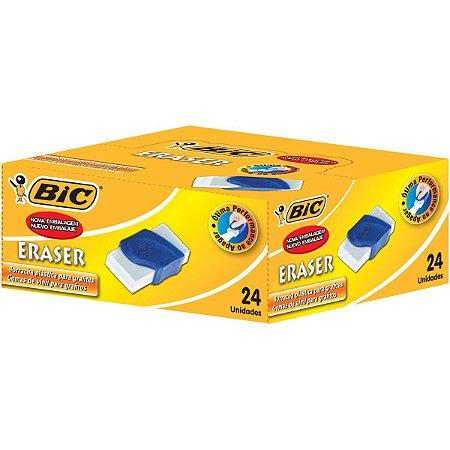 Borracha Branca Eraser Capa Plástica Azul Bic