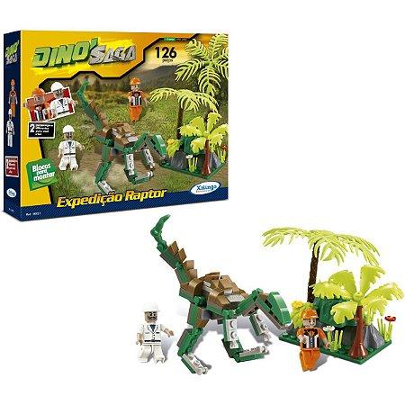 Brinquedo Para Montar Dino Expedicao Raptor 126Pecas Xalingo