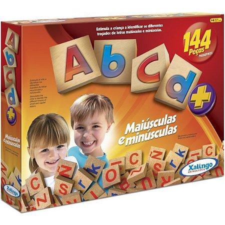 Brinquedo Pedagógico Madeira Abc Maiusculas/minuscul. 144Pc Xalingo
