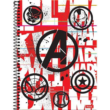 Caderno 10X1 Capa Dura 2021 Marvel Red Brick 160Fls. Foroni