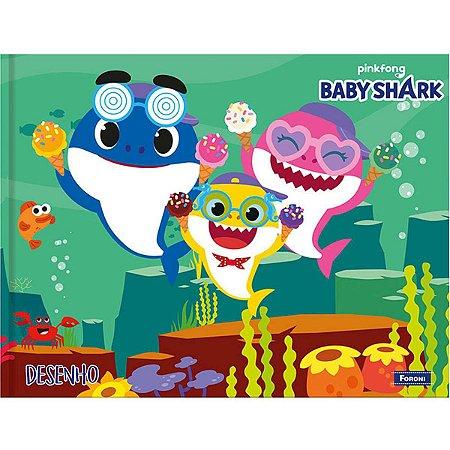 Caderno Desenho Univ Capa Dura Baby Shark 40Fls. Horiz. Foroni