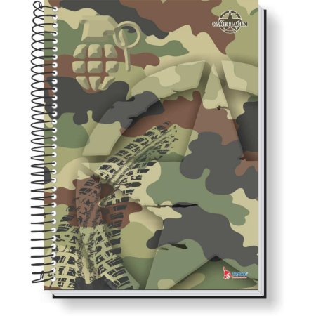 Caderno Espiral 1/4 Capa Dura Camuflagem 80F Tamoio