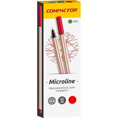 Caneta Com Ponta Porosa Microline 0,4Mm Vermelha Compactor
