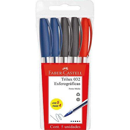 Caneta Esferográfica Trilux 1.0Mm 3 Cores Bl.c/5 Faber-Castell
