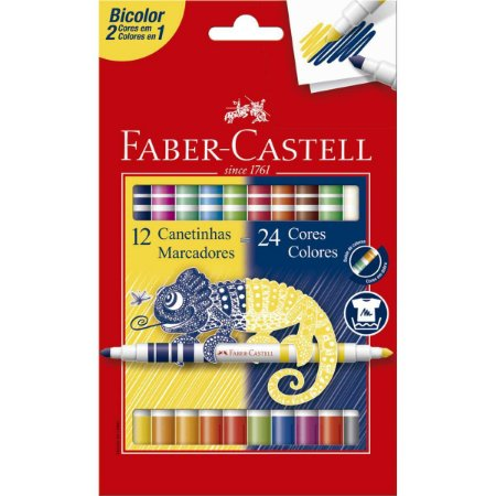 Caneta Hidrografica Bicolor 12 Canetas/24 Cores Faber-Castell