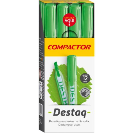 Caneta Marca Texto Destaq Fluorescente Verde Compactor