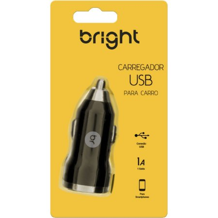 Carregador Celular Veicular 1 Porta Usb Bright