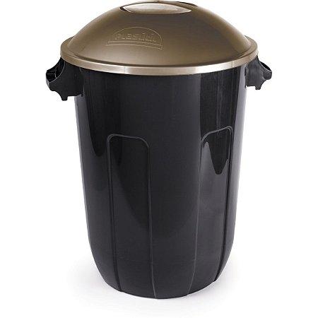 Cesto Para Lixo Ecoblack 94L Preta Com Tampa Plasutil