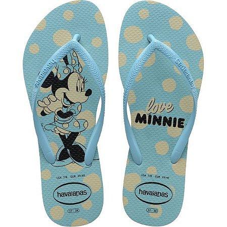 Chinelo Havaianas Feminino Slim Disney 35/6 Azul Havaianas