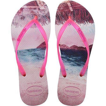 Chinelo Havaianas Feminino Slim Paisage 37/8 Candy Pink Havaianas