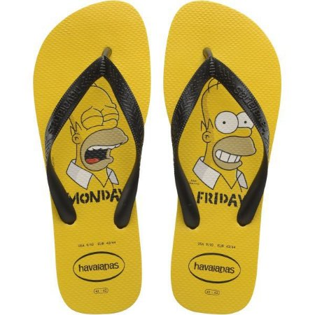 Chinelo Havaianas Masculino Simpsons 43/4 Amarelo Ouro Havaianas