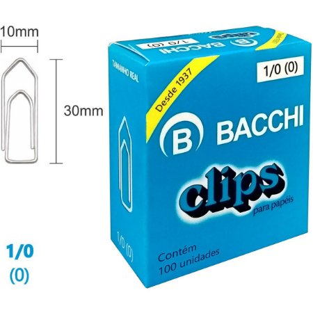 Clips Galvanizado Aço 1/0 (0) 100 Unidades Bacchi