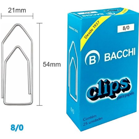 Clips Galvanizado Aço 8/0 25 Unidades Bacchi