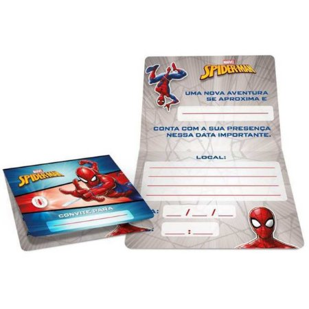 Convite De Aniversário Spider-Man Animacao R319 C/8Un Regina Festas