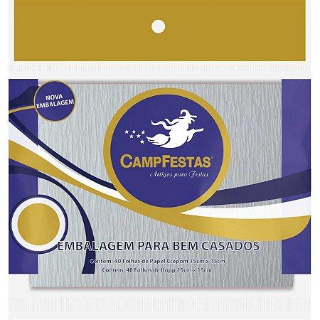 Embalagem Para Doces Bem Casado Br.15,5X15,5Cm Kit Campfestas