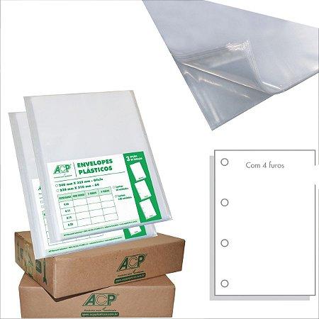 Envelope Plástico Ofício 4Furos Grosso 0,15Mm Acp