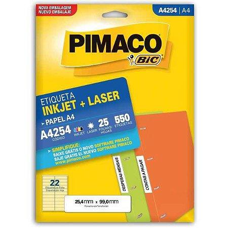 Etiqueta A4 A4254 25 Fls 25,4 X 99,0 Mm Pimaco