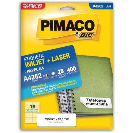 Etiqueta A4 A4262 25 Fls 33,9 X 99,0 Mm Pimaco