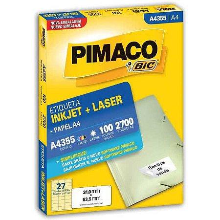 Etiqueta A4 A4355 100 Fls 31,0 X 63,5 Mm Pimaco