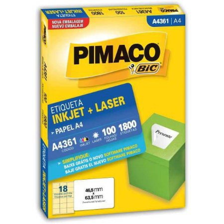 Etiqueta A4 A4361 100 Fls 46,5 X 63,5 Mm Pimaco