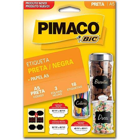 Etiqueta A5 A5 Preta 3Fls 50X65Mm C/18 Eti Pimaco