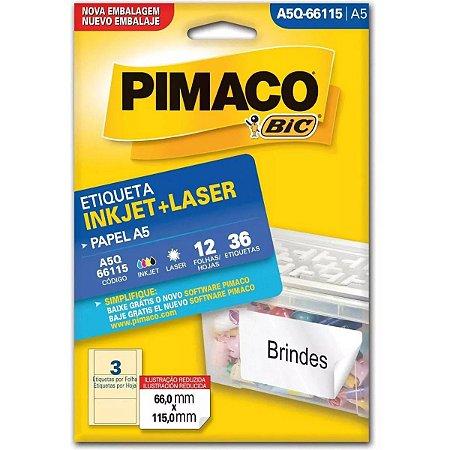 Etiqueta A5 A5Q-66115 12 Fls 66,0X115,0 Mm Pimaco